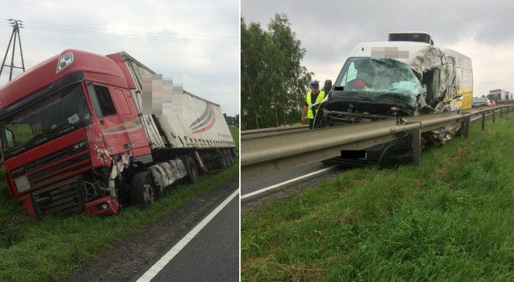 Czołowe zderzenie busa z ciężarówką na DK 5