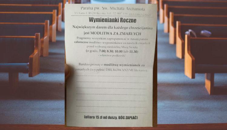 Kcynia. Proboszcz rozdał wiernym ulotkę z wyceną modlitwy za zmarłych