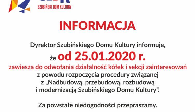 Szubiński Dom Kultury  zawiesza do odwołania działalność kółek i sekcji zainteresowań